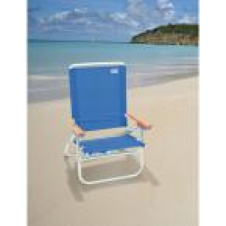 4-Position Easy In - Easy Out Blue Aluminum Beach Chair with